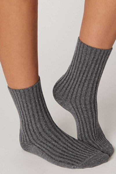 Kadın Mavi Kalın Fitilli Örgü Çorap