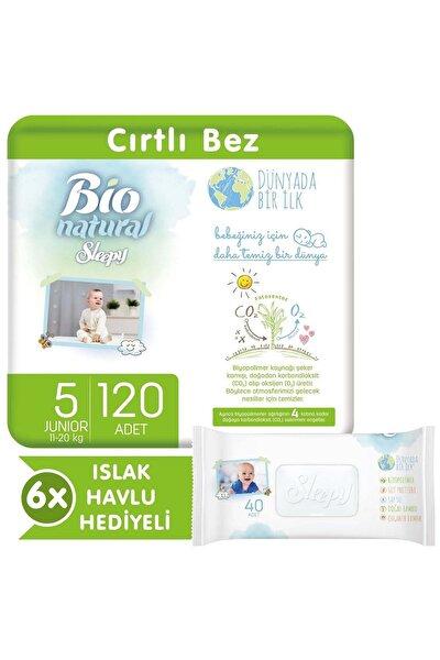 Bio Natural Bebek Bezi 5 Numara Junior 120 Adet + 6X40 Bio Natural Islak Havlu