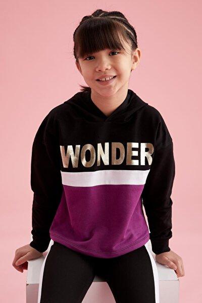 Kız Çocuk Yazı Baskılı Renk Bloklu Sweatshirt