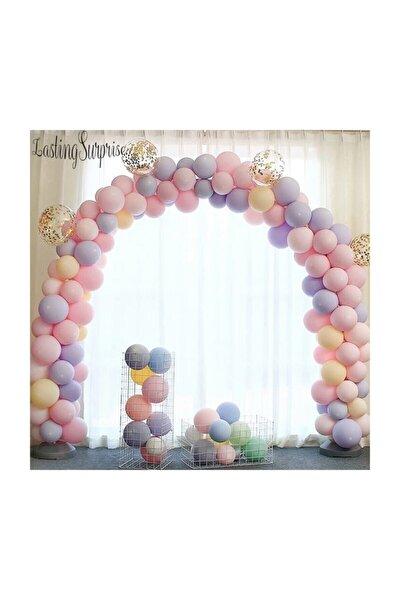 Doğum Günü Renkli Makaron Balonlu Zincir Balon Seti 5 Mt Zincir 125 Balon
