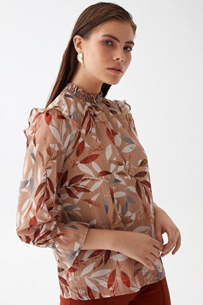 Kadın Taba Yaprak Desenli Bluz K21BL043