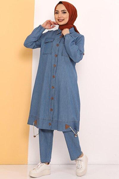 Kadın Açık Mavi Eteği Büzgü Detaylı Ikili Kot Takım Tsd0450