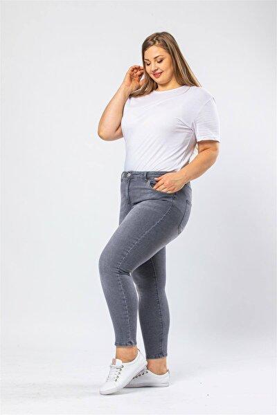 Kadın Büyük Beden Likralı Taşlanmış Jeans