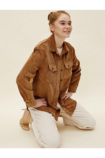 Kadın Kahverengi Gömlek Yaka Fitilli Kadife Ceket