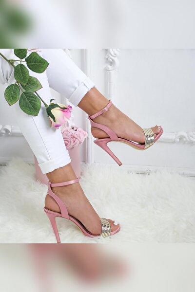 Kadın Pudra Mat İnce Topuklu Ayakkabı