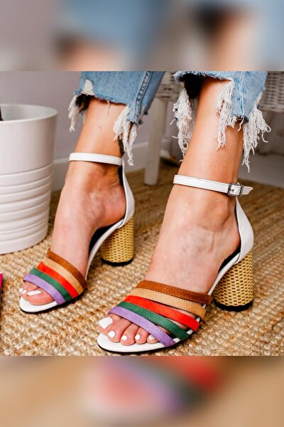 Kadın Beyaz Multi Hasır Topuklu Ayakkabı