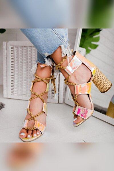 Kadın Pudra Limon Klasik Topuklu Ayakkabı
