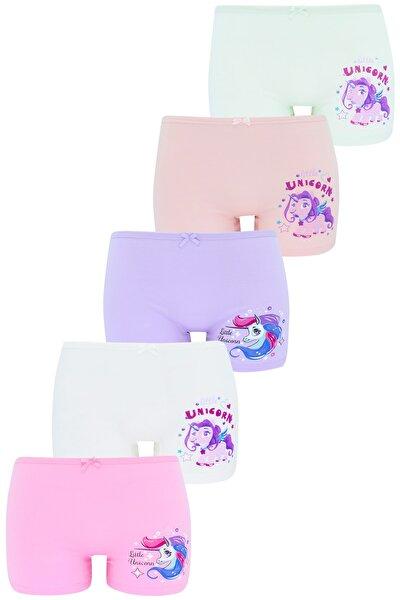 Kız Çocuk Boxer  Paket Karışık Renk Unicorn Baskılı Boxer 5 Li