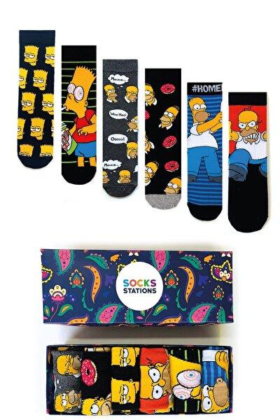 6'lı Simpsons Desenli Renkli Çorap Özel Kutusu