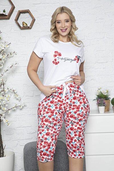 Büyük Beden Kapri Pijama Takımı Beyaz Renkli Baskılı Kısa Kollu Battal Pijama Takımı 50004