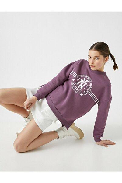Kadın Mor Pamuklu Sweatshirt