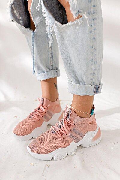 Kadın Pudra Triko Strech Sneaker