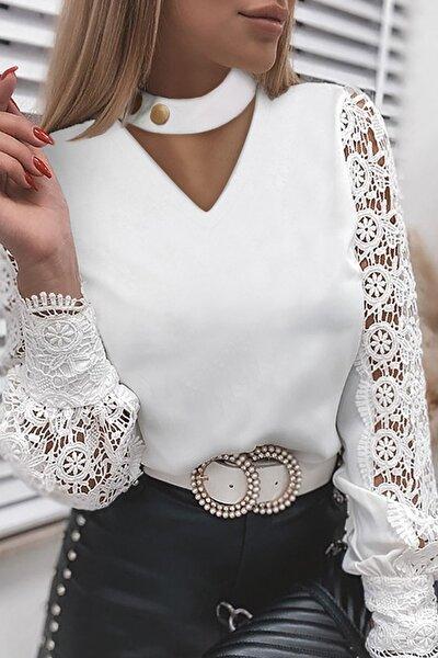 Kadın Beyaz Boyunu Çıtçıtlı Kolu Dantelli Bluz