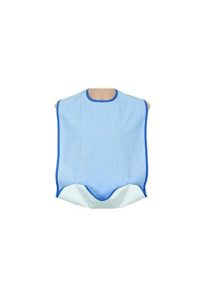 G885 Mavi Renk Cepli - Çıtçıtlı Yıkanabilir Yetişkin Hasta Yemek Önlüğü Standart Beden