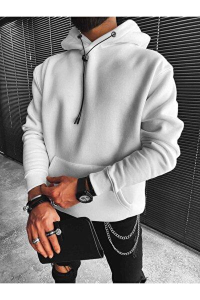 Erkek Oversize Basic Kapüşonlu Beyaz Sweatshirt