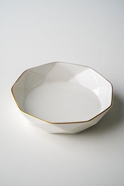 Diamond Gold Şeritli Beyaz Porselen Kase - 13,5 Cm