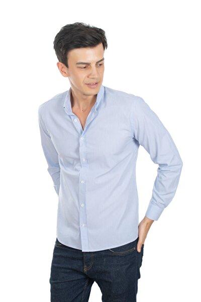 Mavi Çizgili Slim Fit Erkek Gömlek %100 Pamuk