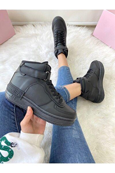 Kadın Bıleklı Sıyah Spor Ayakkabı