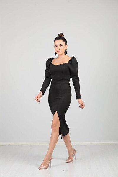 Scuba Kumaş Yırtmaç Detaylı Elbise - Siyah