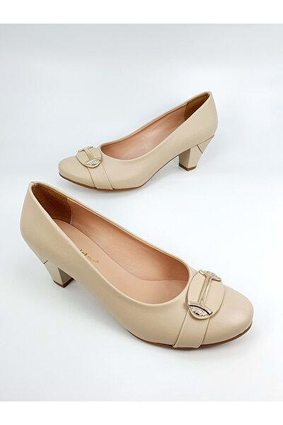Bayan Topuklu Ayakkabı - Bej - 39