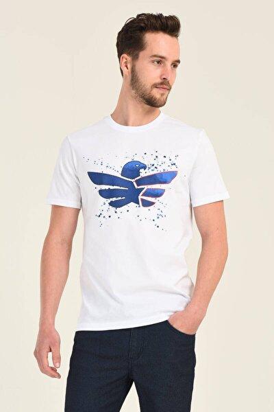 Erkek Baskılı Beyaz Bisiklet Yaka T-shirt