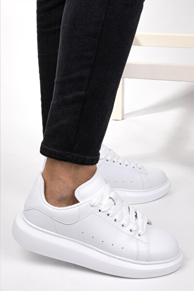 Unisex Sneaker Memory Hafıza Yüksek Tabanlı Yürüyüş Ayakkabısı Beyaz & Siyah & Pudra