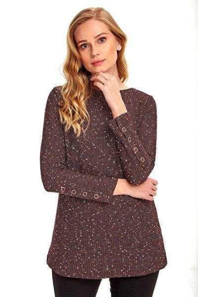 Kadın Bordo Kolları Çıtçıtlı Uzun Triko Bluz