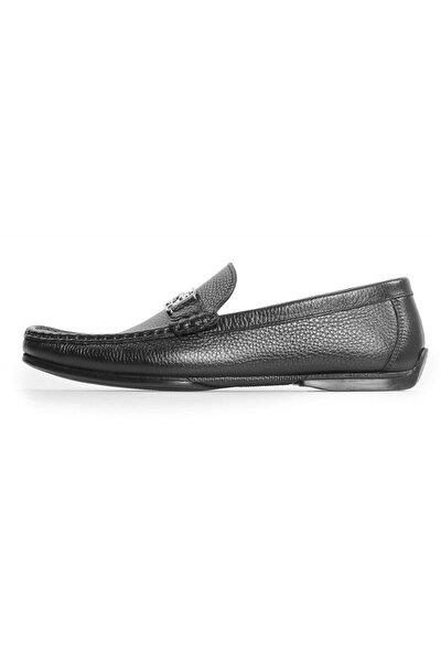 Siyah Deri Toka Detaylı Erkek Loafer