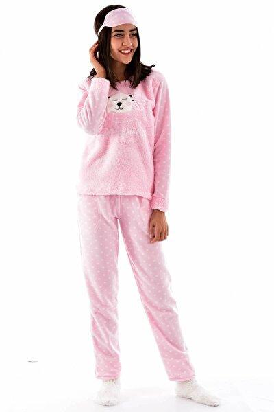 Kadın Pembe Çoraplı Göz Bantlı Welsoft Polar Pijama Takımı