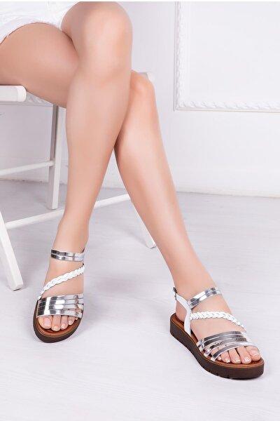Hakiki Deri Beyaz Gümüş Kadın Deri Sandalet Rma-3130