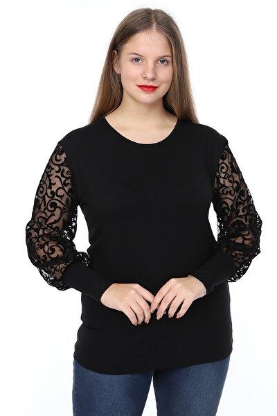 Kadın Büyük Beden Siyah Türk Motifi Flok Desenli Bluz