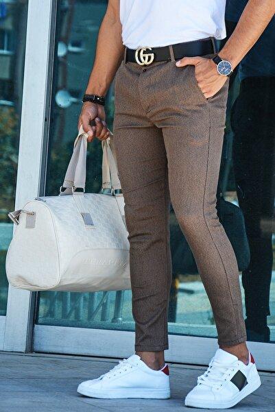 Erkek Slim Fit Keten Pantolon 20y-2200298 Kahverengi