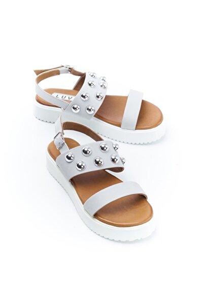128016 Buz Hakiki Deri Kadın Sandalet
