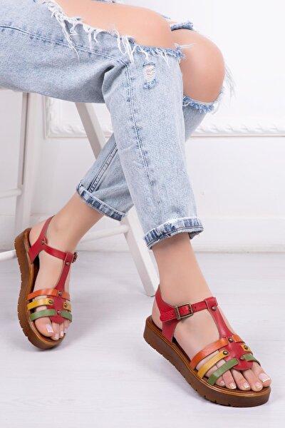 Hakiki Deri Kırmızı Multi Kadın Deri Sandalet Dp-0092
