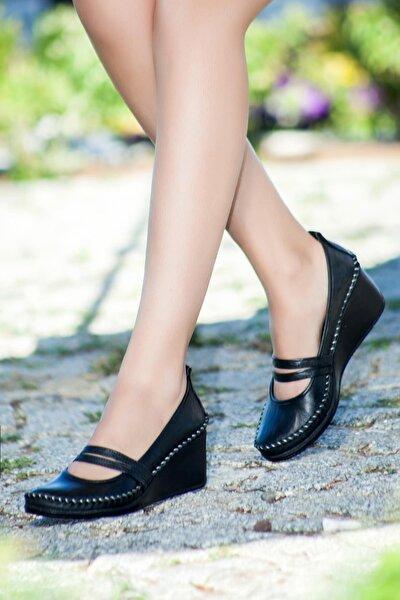 Hakiki Deri Siyah Kadın Dolgu Topuklu Deri Ayakkabı Ars-0135