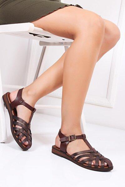 Hakiki Deri Kahve X6 Kadın Deri Sandalet Dp-0067