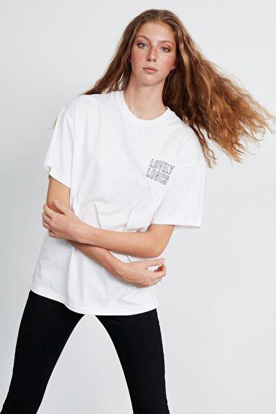 Natalıe Kadın Beyaz Oversize Önü Ve Arkası Baskılı T-shirt