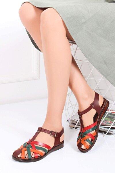 Hakiki Deri Kahve Multi Kadın Deri Sandalet Dp-0067
