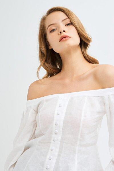 Kadın Beyaz Arkası Lastikli Keten Bluz