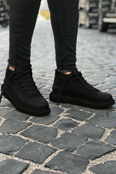 Yüksek Taban Siyah Taban Siyah Erkek Ayakkabı