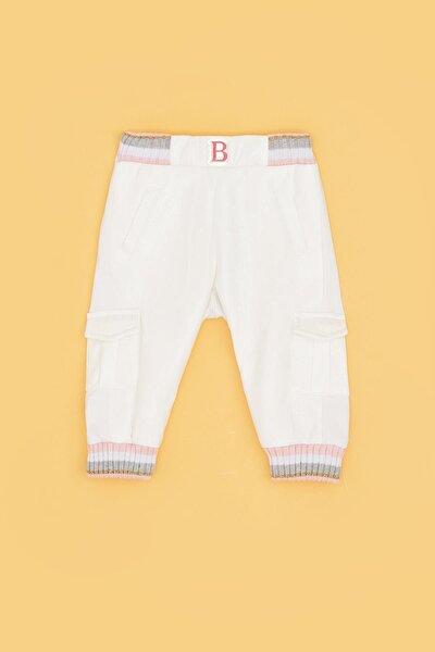 Kız Bebek Beyaz Paçası Lastikli Pantolon