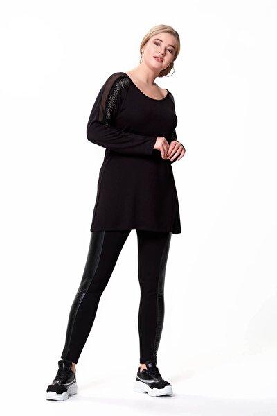 Kolu Taş Ve Şifon Detay Büyük Beden Tunik Siyah