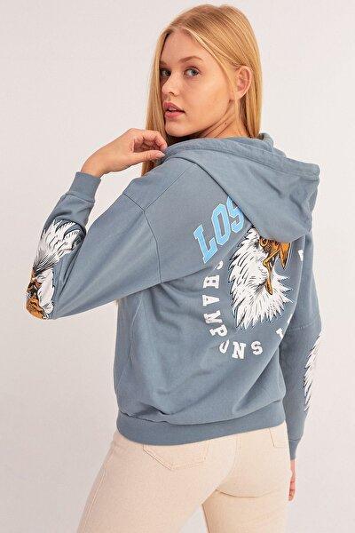 Kartal Baskılı Fermuarlı Sweatshirt