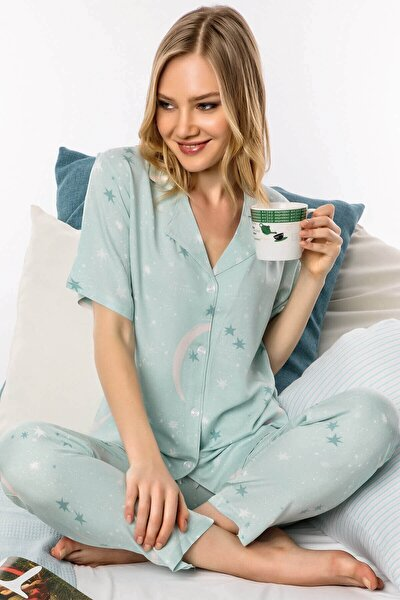 1007 Notte Di Menta Önden Düğmeli Pijama Takımı