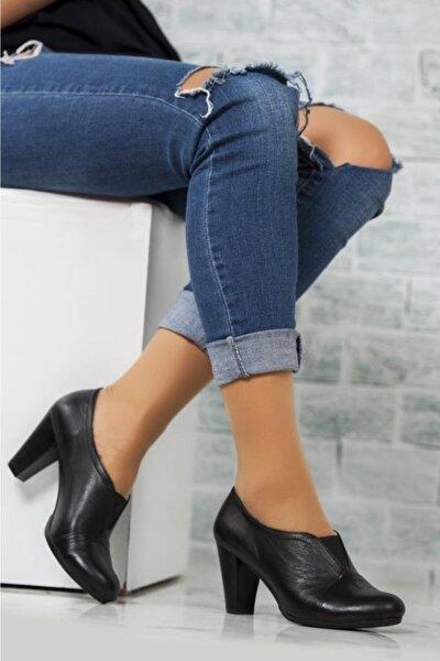 Hakiki Deri Siyah Kadın Deri Topuklu Klasik Ayakkabı Trc-1072