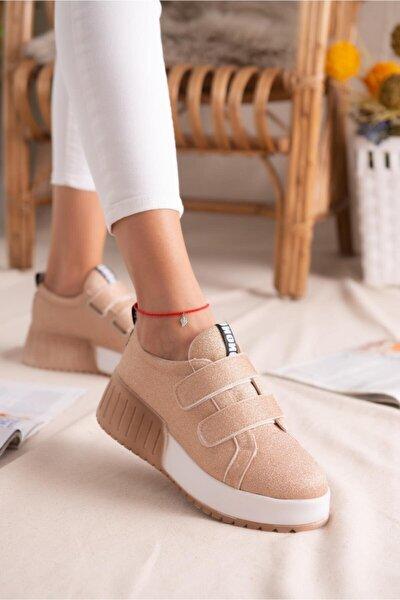 Julia Altın Simli Çift Bantlı Yüksek Tabanlı Sneakers