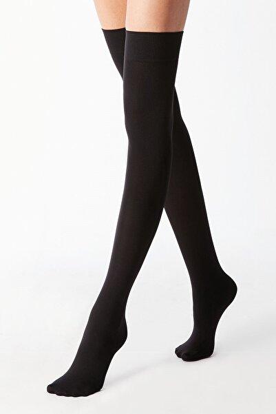 Kadın Siyah Pamuklu Dizüstü Çorap Jartiyer Boy Uzun Çorap