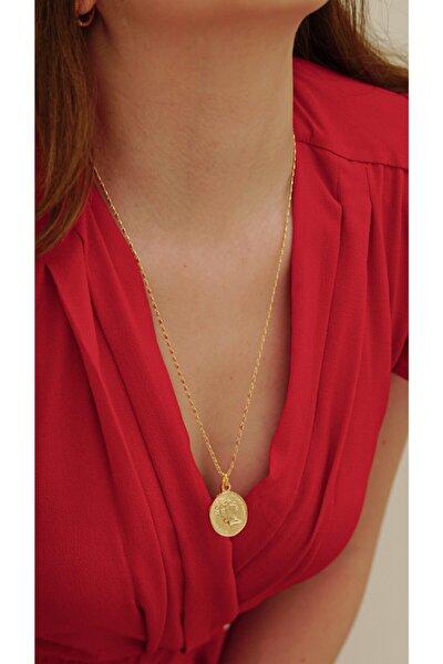 Kadın Gold Madalyon Kolye