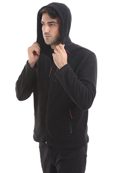 Store Unisex Siyah Üç Cepli Fermuarlı Kapşonlu Polar