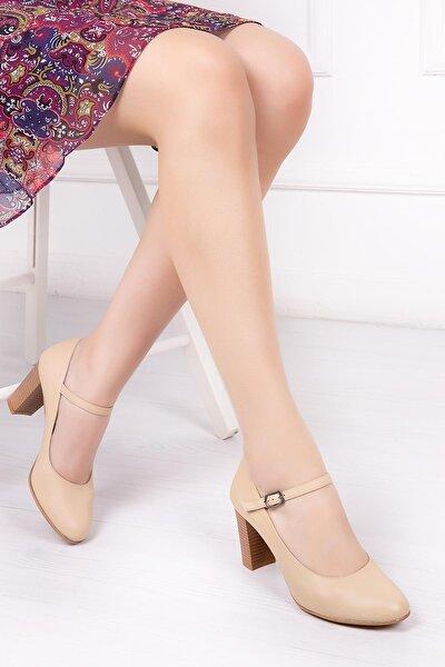 Hakiki Deri Bej Kadın Topuklu Deri Ayakkabı Shn-0278